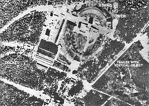 Imagery intelligence - Aerial photograph of the missile Test Stand VII at Peenemünde.