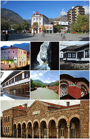 Peć - From top (left to right):  Peć city center, Zenel Beg Tower (Kulla), Rugova Canyon, Ethnological Museum, Old Bazaar, Bistrica River, Patriarchal Monastery of Peć and the train station of Peć.