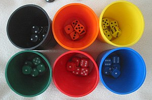 Liar's dice - Five six-sided dice are used per player, with dice cups used for concealment.
