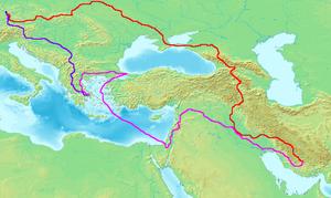 Petachiah of Regensburg - The approximate route of Petachiah's journeys.