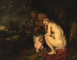 Sine Cerere et Baccho friget Venus - Rubens 1615, Koninklijk Museum voor Schone Kunsten, Antwerp. Venus and Cupid are freezing, as a satyr arrives with a fruit bowl