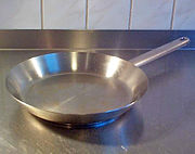 A stainless steel frying pan.