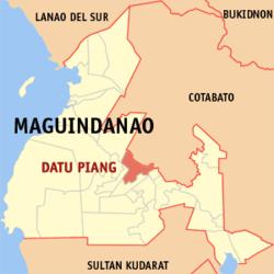 Bản đồ Maguindanao với vị trí của Datu Piang