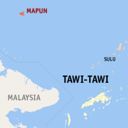 Map of Tawi-Tawi with Mapun highlighted
