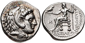 Greek drachma - Silver Drachma of Philip III Arrhidaios, minted at Babylon. Obverse: Head of Herakles.  Reverse: Zeus Aëtophoros.