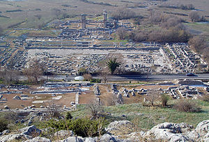 Philippi - Ruins of the centre of the city: the forum in the foreground, the market and the basilica in the background.