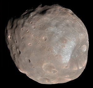 Phobos (moon) - Enhanced-color image of Phobos from the Mars Reconnaissance Orbiter with Stickney crater on the right