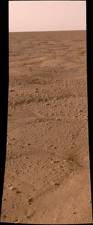 Diacria quadrangle - Approximate-color photomosaic of cryoturbation polygons due to the Martian permafrost.