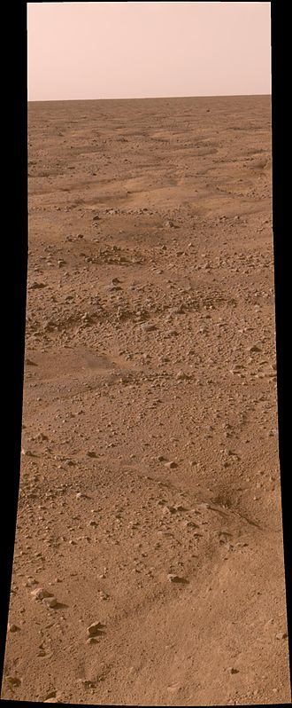 Vastitas Borealis - Surface of Mars, as seen by Phoenix.  The ground is shaped into polygons which are common where the ground freezes and thaws.