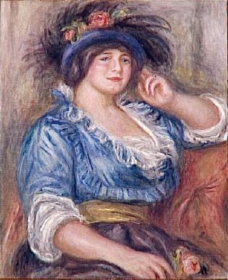 Alfred Edwards (journalist) - Jeune femme à la rose, by Auguste Renoir (1913), portraying Gabrielle Colonna-Romano