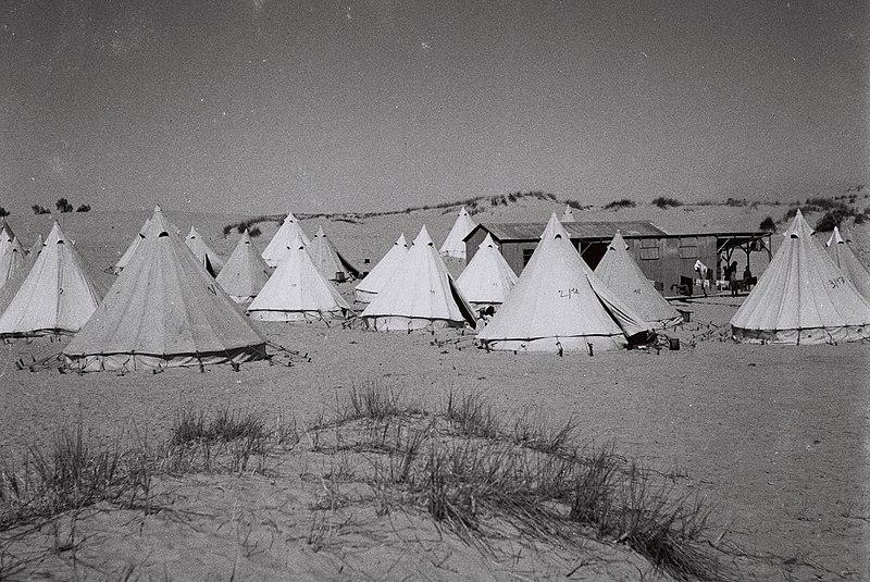 אוהלים במעברה בחולות ראשון לציון