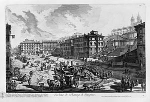 Spanish Steps - The piazza di Spagna in an 18th-century etching by Giovanni Battista Piranesi, seen from south. The street on the left is Via del Babuino, leading to Piazza del Popolo.