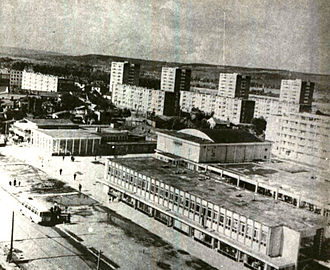 Pitești - Tower blocks in Pitești, photographed in 1970, shortly after their completion