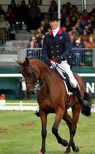 Eventing - William Fox-Pitt performing a half-pass in a dressage test at an event.