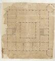 Plan över poritken på trädgårdssidan, Skoklosters slott, från 1650-tal - Skoklosters slott - 98119.tif