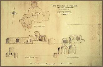 Ħal-Saflieni Hypogeum - Site map of the Hypogeum made in October 1907