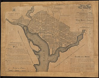 L'Enfant Plan - Image: Plan of the city of Washington in the territory of Columbia, ceded by the states of Virginia and Maryland to the United States of America ... (8249620373)