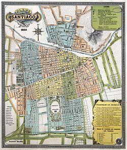 Mapa de Santiago en 1895.