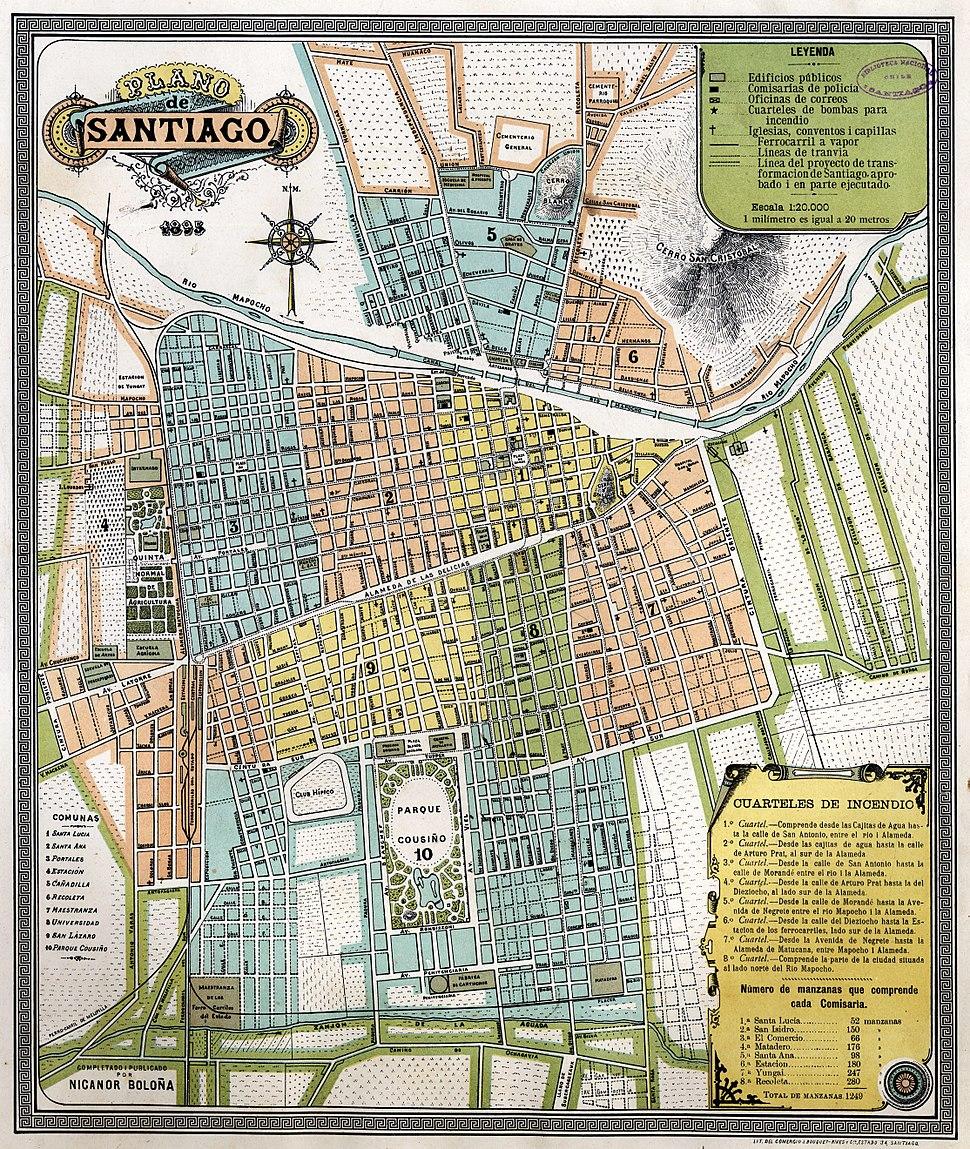 Plano de Santiago, por Nicolás Boloña