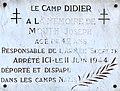 Plaque Joseph Mouth (Camp Didier) à Sathonay Camp.JPG