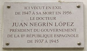 Juan Negrín - Commemorative plaque, 78 bis, avenue Henri-Martin, 16th arr., Paris