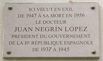 Juan Negrín - Commemorative plaque, 78 bis, avenue Henri-Martin, 16th arr., Paris