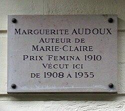 Photo of Marguerite Audoux white plaque