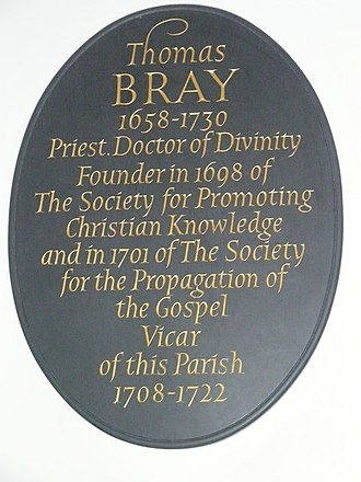 Thomas Bray - Memorial plaque in St Botolph's, Aldgate