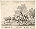 Plate 2- a peasant woman herds two cows across a stream, walking towards the left, from 'Diversi capricci' MET DP833173.jpg