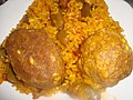 Plato de paella con pelotas dulce y salada (Torreblanca).jpg