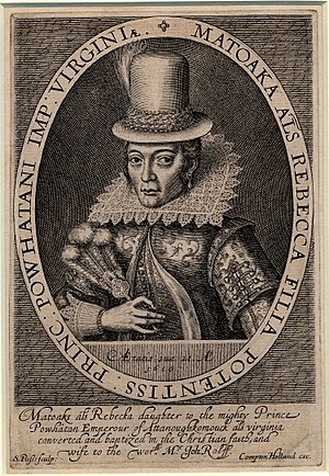 Pocahontas - Portrait engraving by Simon de Passe, 1616