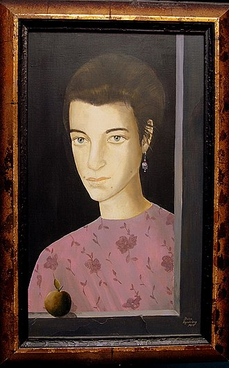 Reginald Gray (artist) - Portrait of Doina by Reginald Gray. Paris, 2001. (egg tempera on canvas)