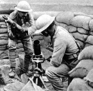 Portuguese Expeditionary Corps - CEP soldiers loading a Stokes Mortar.