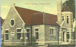 PostcardStratfordCTLibrary1909