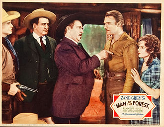 Randolph Scott - Barton MacLane, Tom Kennedy, Noah Beery, Sr., Scott and Verna Hillie in Man of the Forest, 1933