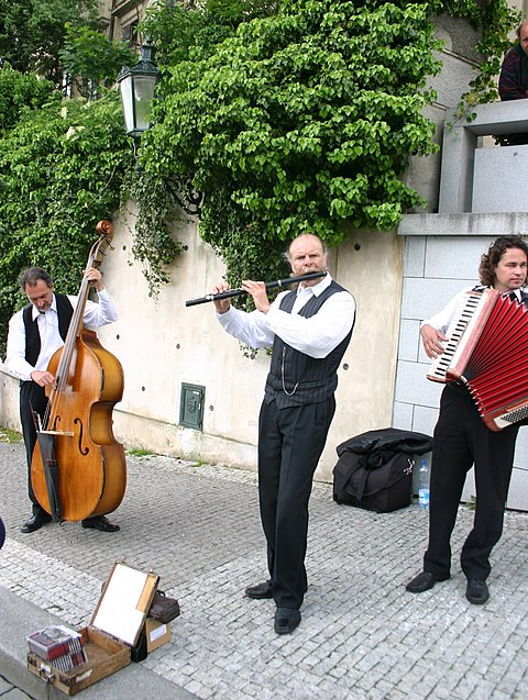 Street musicians in Prague playing a polka Prague Street Musicians (Polka Band).jpg