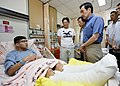 President Ma Ying-jeou visiting a victim of the 2015 New Taipei water park fire 20150628.jpg