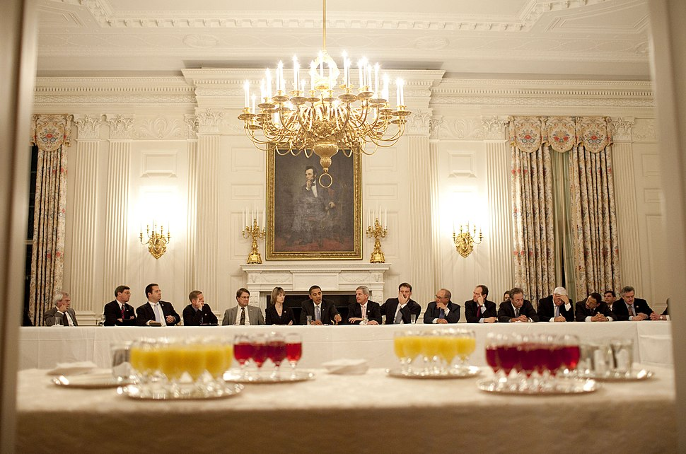 President Obama meets with the Democratic Blue Dog coalition in the State Dining Room.