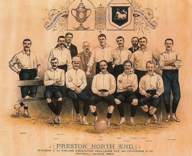 The 1888-89 season was Preston North End's first season in the Football League which had just been founded. Because of this Preston became one of the founder members of the Football League. Preston were very successful during the season as they went on to claim the league and cup double without being defeated which earned the squad legendary status in league football. Preston north end art.jpg