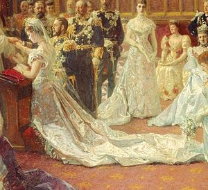 Wedding dress of Princess Mary of Teck - Painting by Laurits Tuxen