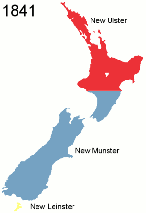 Colony of New Zealand - The provinces of New Zealand, as they were originally established, in 1841, with the creation of the colony