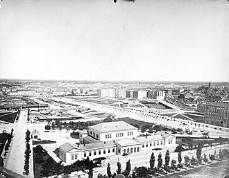 Austrian Parliament Building - Provisional House of Deputies building, view from Votive Church, 1860s