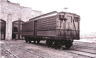 Stock car (rail) - An early Pullman Palace Car Company livestock car design from the late 19th century