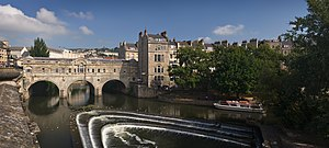 River Avon, Bristol - Palladian Pulteney Bridge and the weir at Bath