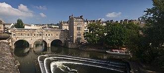 River Avon, Bristol - Palladian Pulteney Bridge and the weir at Bath
