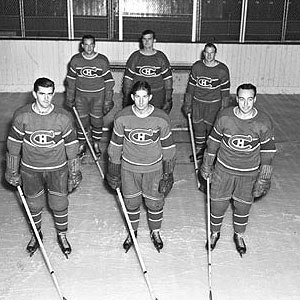 Punch line (ice hockey) - Punch line: Maurice Richard (bottom left), Elmer Lach (centre), and Toe Blake (bottom right)