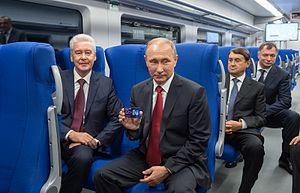 Moscow Central Circle - Mayor of Moscow Sergey Sobyanin and President Vladimir Putin on the opening day of the MCC.