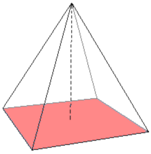 Base (geometry) - A skeletal pyramid with its base highlighted