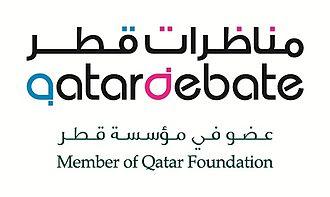 QatarDebate - Image: QF Qatar Debate Cobranded Logo small Bilingual CMYK