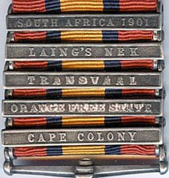 Queen's South Africa Medal - Five clasps in correct order of wear